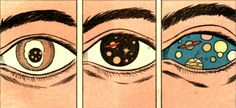Dark side of typography   Comic Book Style Pop Art   Cosmic Illustration   Graphic Design   Trippy   Space Eyes   Psychedelic