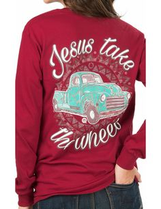 Girlie Girl Originals Women's Red with Turquoise Truck and Jesus Take The Wheel Screen Print Long Sleeve T-Shirt | Cavender's