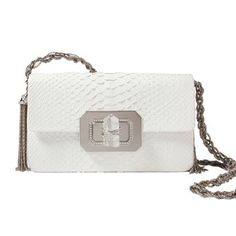 Marchesa Python Shoulder Bag. Gleaming white python is accented with a braided metal shoulder strap and large chunk of Swarovski crystal for an understated but luxurious effect. Handmade of the finest quality materials, Marchesa bags are a red carpet staple. $3,695.00