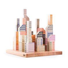 Cubi in legno citta di Manhattan - 54 pezzi Bajo Giocattoli e