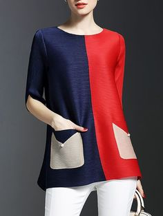 This Pin was discovered by Sty Colorblock Dress, Look Chic, Refashion, Dressmaking, Dress Patterns, Blouse Designs, Fashion Online, Tunic Tops, Clothes For Women