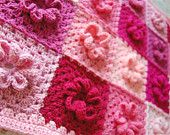 Custom Order/Made to Order - Pink Flower Patchwork Baby Afghan - Baby Shower Gift - Gift for your little girl