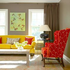 Benjamin Moore  Whitall Brown,No. HC-69 - look how nicely the red & yellow pop with the brown background. I think the curtains should be floral instead of brown though.