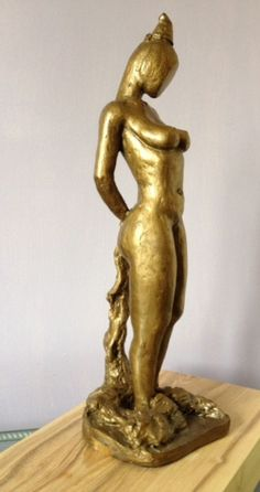 Bronze resin Contemplative, Restful, Thougtful #sculpture by #sculptor Roland Lawar titled: 'Young Girl #1' #art