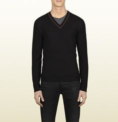 black diamante stitch v-neck sweater