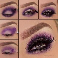 Purple Eyeshadow Makeup Tutorial Step By Step Smoke Eye Makeup, Makeup Eye Looks, Purple Eye Makeup, Eye Makeup Steps, Colorful Eye Makeup, Cute Makeup, Gorgeous Makeup, Eyeshadow Makeup, Makeup Brushes