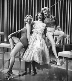 """Marilyn Monroe (1926-1962), Lauren Bacall (b. 1924), and Betty Grable (1916-1973), in """"How to Marry a Millionaire,"""" 1953"""