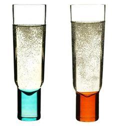 Chic, colorful champagne glasses.