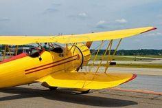 yellow vintage airplane