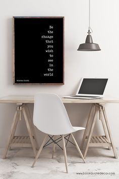Minimalist black & white quote prints - Gandhi - Be the Change art print for walls. #quoteprint #motivationalquote #inspirationalquote #motivationprint Office Wall Art, Office Walls, Office Decor, Office Uk, Desk Office, Office Style, Office Ideas, Decoration Bedroom, Wall Decor