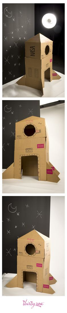 With markers, tape and a little imagination, our boxes can be transformed into a spaceship, ready for adventure!
