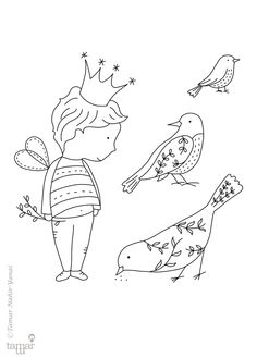 חותמות - סט 6 - The Happy Prince | תמר נהיר ינאי | מרמלדה מרקט Blackwork Embroidery, Embroidery Applique, Embroidery Designs, Coloring Books, Coloring Pages, Bee Illustration, Hand Quilting Patterns, Wild Tattoo, Drawing Journal
