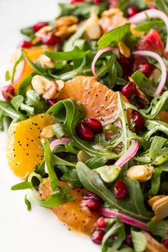 This delicious Arugula Orange Salad with Lemon Ginger Dressing is loaded with fabulous seasonal produce. It sure to chase away the winter blues! Vegetarian Recipes, Cooking Recipes, Healthy Recipes, Mexican Salad Recipes, Side Salad Recipes, Healthy Salads, Healthy Eating, Healthy Food, Salads For Lunch