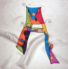 Hand beschilderde zijde sjaal met initiële personaliseren. Zijden mini sjaal. Gepersonaliseerde naam sjaal. Giveaways.Ideas voor haar. Vrouw sjaal-21.7x21.7in