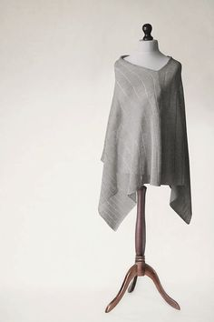 PURE LINEN PONCHO knitted machine wrap poncho by KnitwearFactory