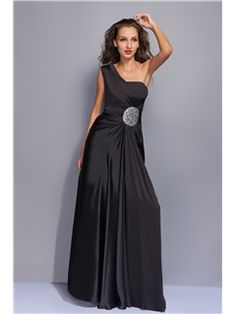 Graceful A-Line Floor-Length One-Shoulder Floral Pin Miriama's Prom/Evening Dress