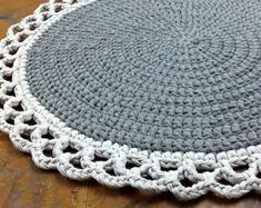 Crochet Rug ,Round Rug, Cotton Rug, Knitted Rug, Gray Rug, Handmade Rug, Doily Rug