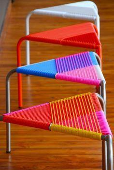 Blog F de Fifi: manualidades, DIY, maternidad, decoración, niños.: 7 ideas usando hilo scoubidou para decorar muebles y objetos - taburete scoubidou