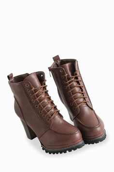 Fashionable Lace-Up Thick Heel Zipped Ankle Boots In Dark Brown Lace Up Ankle  Boots 3a8e94c22572