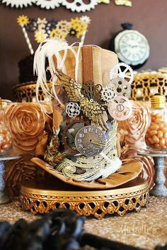 """""""Stopping Time... Forever Thirty Nine"""" Steampunk Birthday Party via Kara's Party Ideas KarasPartyIdeas.com Cake, decor, party supplies, tutorials, invitation, and more! #steampunk #steampunkparty #timeparty #clockparty #gears #clocks #adultbirthdayparty #stoppingtime (15)"""