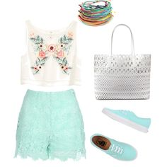 Mint summer fashion by itisacs on Polyvore featuring polyvore, fashion, style, H&M, Jane Norman, Vans and DKNY