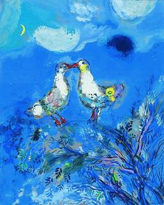 Marc Chagall Two Pigeons 1925 - pigeons and doves in fine art Marc Chagall, Artist Chagall, Chagall Paintings, Les Fables, Art Aquarelle, Jewish Art, Henri Matisse, Art Plastique, Famous Artists