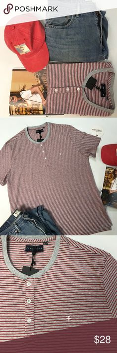 🎉🎉HOSTPICK🎉🎉Men Buttoned Tee NWT Made with just enough stretch for added comfort & flexibility, perfect for every day wear. Front buttoned side vents. Tag says XL also fits L. See pict for exact measures. Five Four Shirts Tees - Short Sleeve