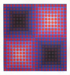 Vasarely Victor : Signed screenprint : Composition K