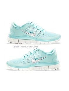 shoes -                                                      NIKE Free 5.0 Swarovski crystals on Nike swoosh by denimtrend, $150.00