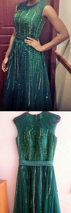 High Fashion A-Line Round Neck Green Long Prom Dress with Sequin B0831