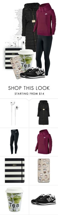 """""""Untitled #308"""" by sofia-ios ❤ liked on Polyvore featuring Apple, Moncler, NIKE, Kate Spade, Könitz and New Balance"""