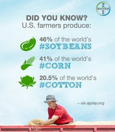 Did you know? U.S. farmers produce 46% of the world's #soybeans, 41% of the world's #corn and 20.5% of the world's #cotton. Learn more in our interactive learning center: http://www.bayercropscience.us/learning-center