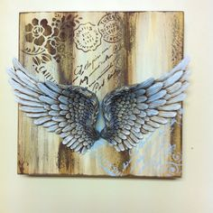 Stencils and paints Products distributed by www. Angel Wings Art, Angel Devil Tattoo, Angel And Devil, Stencils, Stencil Art, Anchor String Art, Angel Spirit, Decoupage Vintage, Wings Drawing