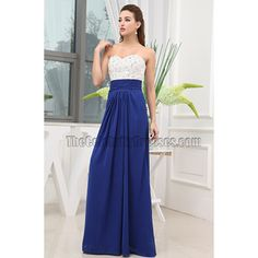 New Style White And Royal Blue Formal Dress Prom Gown