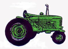 Farm Tractor Green Fully Embroidered Iron On Patch Applique