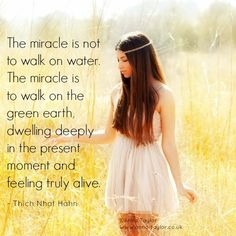 www.mindfulmuscle.com The miracle is not to walk on water. The miracle is to walk on the green earth, dwelling deeply in the present moment and feeling truly alive ~ #Thích Nhat Hạnh