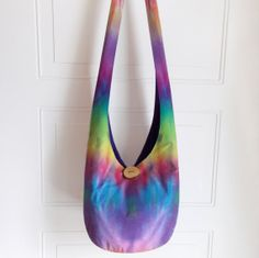 Sling Bag Tie Dye Hobo Bag Batik Colorful Hippie by 2LeftHandz- Love the Batik dying traditions; makes for great scarves too!