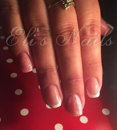 French nails, Sparkling nails, Glitter nails
