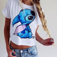 t-shirt disney clothes stitch lilo and stitch animal youtuber brandy melville disney tumblr outfit blue shirt