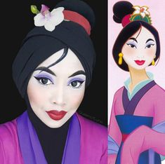 "This beautifully detailed eye makeup was inspired by Vanellope from ""Wreck-it Ralph."" Photo - This makeup artist uses her hijab to turn into Disney princesses Disney Character Makeup, Disney Makeup, Jessica Rabbit, Steven Universe, Princesa Disney Bella, Saint Patricks Day Makeup, Angel Makeup, Eye Makeup, Character Makeup"