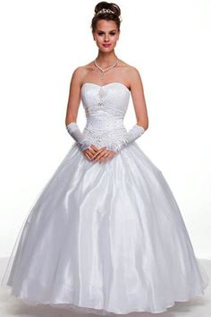 Wedding Dresses Cotillion Dresses<BR>1093W<BR> Ball room dress with gathered bust and beading on bodice with lace up back