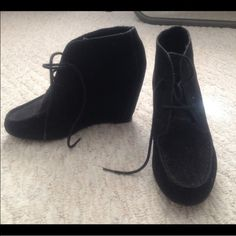 Black Suede Wedge Booties Adorable and comfortable black suede lace tie booties with hidden wedge. Perfect condition! Mossimo Supply Co Shoes