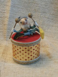 Vintge Elf on Drum Christmas Ornament Candy or Gift Container Box, Japan Made by MendozamVintage on Etsy