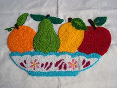 Here is two needle punch projects with fruits. The one above I just finished a week ago and the one below is one I am currently wo. Needlepoint Stitches, Knitting Stitches, Baby Knitting, Needlework, Russian Embroidery, Moss Stitch, Crochet Borders, Knitted Baby Blankets, Needle Lace
