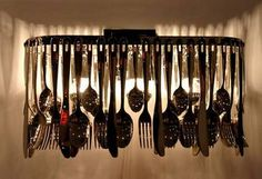 silverware chandeliers (or windchimes), nice recycling project