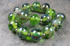 Into the Fire Lampwork Art Beads ~Emerald City~ Artist handmade glass beads SRA