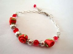 Say it with Roses Handmade Bracelet. Adjustable.. Starting at $5 on Tophatter.com!