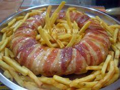 Pastel bacon, queso, serrano y pollo Casserole Recipes, Meat Recipes, Mexican Food Recipes, Chicken Recipes, Cooking Recipes, Pollo Chicken, Food Decoration, Italian Recipes, Appetizers