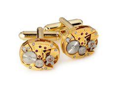 Steampunk Cufflinks Steampunk Jewelry vintage Hamilton watch movements oval pinstripe wedding Grooms Gift gold cuff links men jewelry 1984 #steampunkcufflinks #steampunkjewelry #weddingjewelry