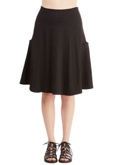 At the Racquet of Dawn Skirt in Black. After rising with the sun, you scored a front-row seat at today's tennis tournament, dressed fabulously in this black skirt! #black #modcloth